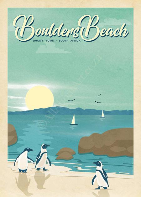 Boulders Beach Vintage Poster Cape Town