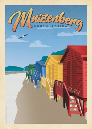 Muizenberg Beach Vintage Poster Cape Town