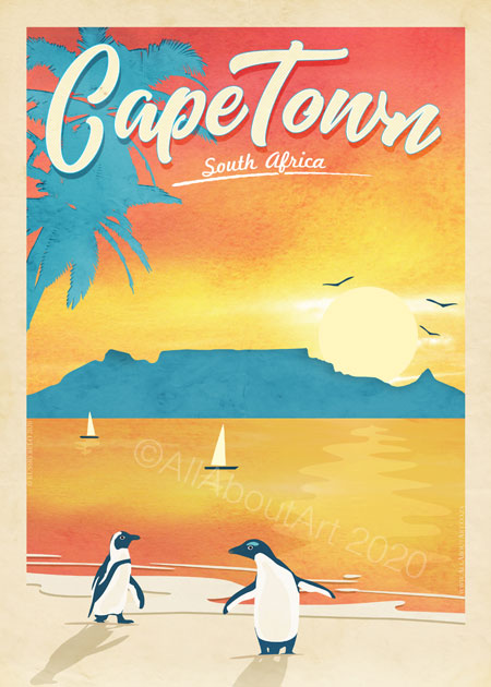 Cape Town Table Mountain Poster Vintage