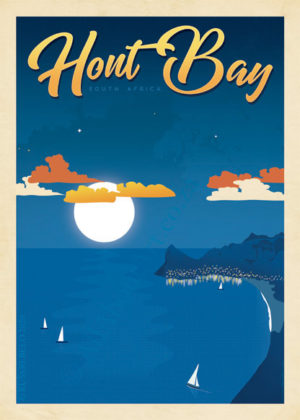 Hout Bay Poster, Vintage Style Poster of Hout Bay Cape Town